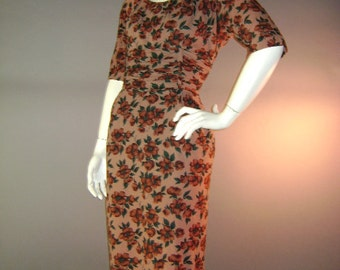1950s vintage dress 50s CINNAMON COCOA FLORAL brown dogwood print hourglass dress