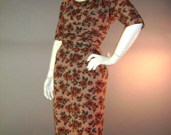 1950s vintage dress 50s CINNAMON COCOA FLORAL brown dogwood print hourglass dress