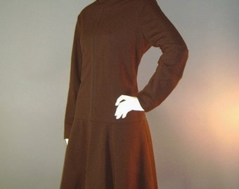 60s dress 1960s vintage CHOCOLATE BROWN fit and flare drop waist mod dress nos