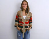 1970s Belted Sweater ... Vintage 70s Striped Cardigan Sweater .. Hippie Boho ..  Size Small to Medium
