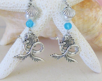 Mermaid Earrings, Mermaid Jewelry, Mermaids, Mermaid Beaded Earrings, Beaded Earring, Silver Earrings, Silver Jewelry, Dangle Earrings, E001