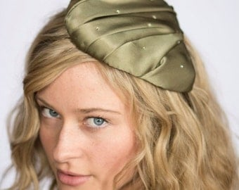 "Gold Silk Teardrop Cocktail Hat with Golden Swarovski Crystal Accents, ""Casseopiea"""