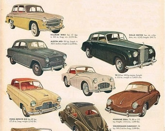 vintage mid century imported german and english classic cars illustration digital download