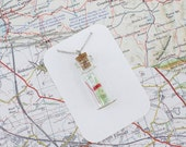 Personalised Map in a Bottle Necklace -Pick your location, anywhere in the world
