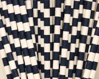 PAPER STRAWS, 25 Navy Sailor Striped Paper Straws,  Nautical Striped Straws, Cruise,Preppy, Wedding Bar ,Birthday,Party, Beverage, Drinks