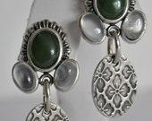 Jade Moonstone Drop Earrings - Handmade Fine Silver