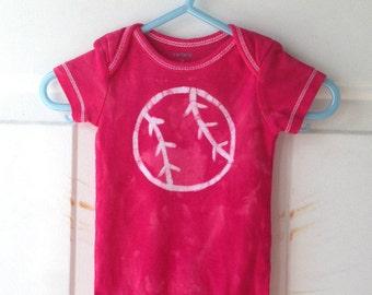 Baseball Baby Bodysuit, Red Baseball Bodysuit, Baseball Baby Gift, Baseball Baby Shower Gift, Baby Boy Gift, Baby Girl Gift (3 months)