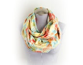 Coral Aqua Floral Infinity Scarf, Cozy Flannel in Bright Colors