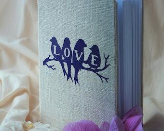 Wedding Guest Book / Wedding Book / Rustic Wedding Guest Book /  Linen Guest Book Love birds