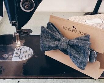 Eco friendly Bow tie - Gray or Denim Blue Hemp & organic cotton / adjustable or clip on neck tie - Spring fashion tie
