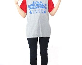 80s Vintage Baseball Tshirt College Football University Novelty Screen Print Tee Raglan Sleeves South Campus Hang Loose Hipster Tshirt (S/M)