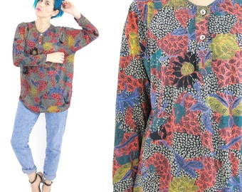 90s Floral Long Sleeve Tshirt Jersey Abstract Print Top African Butterfly Print Shirt Slouchy Pullover Comfy Boho Grunge Long Sleeves (M)