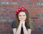 Red and White Headband, Rockabilly Headband, Polka Dot Headband, Dolly Bow, Wired Headband, Pin Up Girl Costume, Headbands for Teens