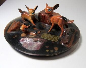 Tiny Deer Figurines Vintage Arizona Souvenir Petrified Wood Scene, Fairy Garden Decor