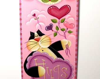 Kitty with Hugs Heart Sign, Handpainted Banner,  Wall Art