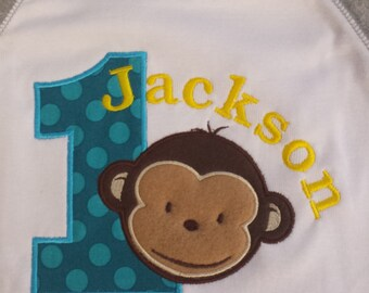 1st Birthday Shirt Mod Monkey Raglan baseball style shirt