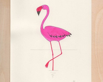 Pink flamingo - original illustration on paper - limited edition