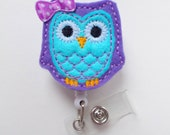 Blueberry Owl with bow - Cute Badge Holder - Nurses Badge Holder - Felt Badge - Nursing Badge Holder - Cute Badge Reel - RN Badge Reel