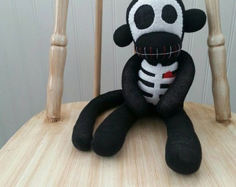Skeleton Sock Monkey with Heart