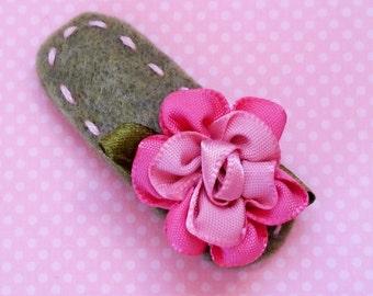 Pink Flower 2 Inch Felt Hair Clip