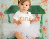 Gold glitter girls first birthday outfit