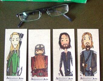 4 Lord of the Rings Bookmarks - Legolas Gimli Aragorn Boromir