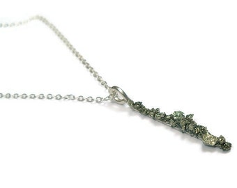 Crushed Stone Sterling Silver Pendant Necklace- Pyrite, Spectral Hematite, or Amethyst