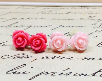 Pink rose earrings Set of 2 pairs, Dark pink and light pastel pink stainless steel studs for sensitive ears gifts for girls The Rosie Medium