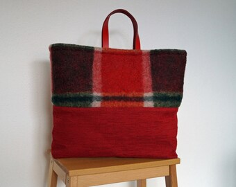 Red fabric checkered blanket handbag