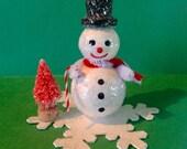 Snowman,Vintage Look Victorian Christmas Ornament-Spun Cotton Snowman, Mica, Chenille, Bottlebrush Tree