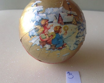 """Vintage German Paper Mâché Christmas Candy Container Ball Ornament, approx. 2 3/4"""""""