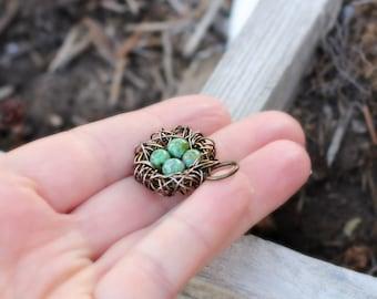 Antique bronze wire birds nest pendant, brass bird nest charm with 1-4 eggs, custom DIY jewelry supplies