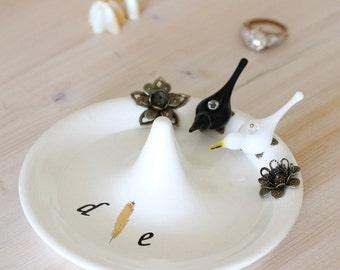 Wedding ring holder, love birds ring stand, engagement ring holder, bird jewelry organizer