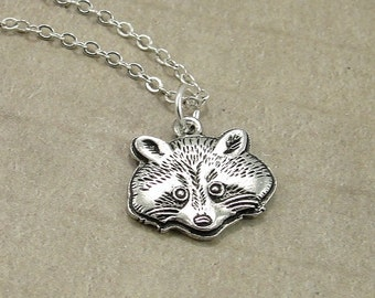 Raccoon Necklace, Silver Raccoon Charm on a Silver Cable Chain