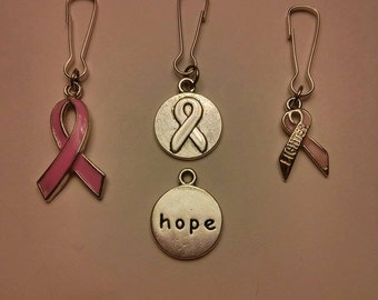 Pink Ribbon Zipper Pull for Breast Cancer Awareness