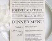 PRINTED Wedding Reception Thank You Menu Combination - Style MTY5 - GRACEFUL COLLECTION