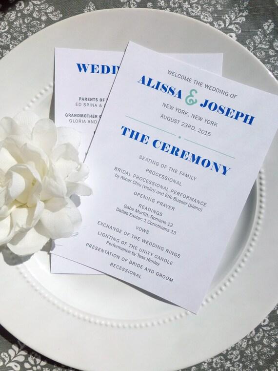 Printable Wedding Programs Style P34 MODISH COLLECTION