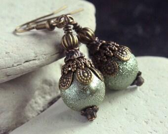 Green Pearl Glass Bead Earrings - A.1232