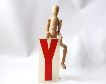"""industrial marquee sign. letter Y. plastic sign letter. red and white. aged sign. 6.5"""" tall. billboard sign. vintage letter. home decor. old"""