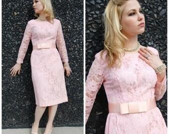 Late 50s Pink Lace Wiggle Dress