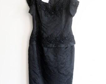 80s Black Strapless Cocktail Evening Scott McClintock Dress Size 6