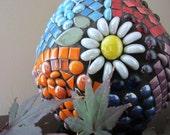 Large Egg-Shaped Mosaic VASE flowers--Gorgeous Details Make This Mosaic Vase a Conversation-Starter.  Ready to Ship...JillsJoy mosaics TAGT