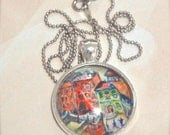 Beautiful Silver Frame Pastel Color Pendant Necklace, Art Jewelry of Girona Spanish City, european jewellery, whimsical, red, orange, yellow