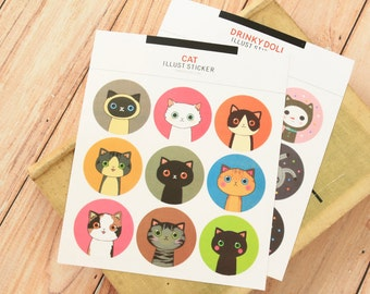 Drinky Doll Cat round paper stickers
