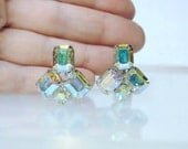 Vintage Mirrored AB Crystal Rhinestone Clip Earrings 1960's  High Quality