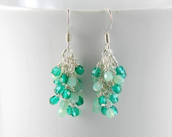 Emerald and Seafoam Green Cascading Earrings , Green Dangle Earrings with Surgical Steel Ear Wires