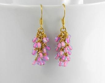 Pink in Sapphire Blue Glass Cascade Dangle Earrings in Gold