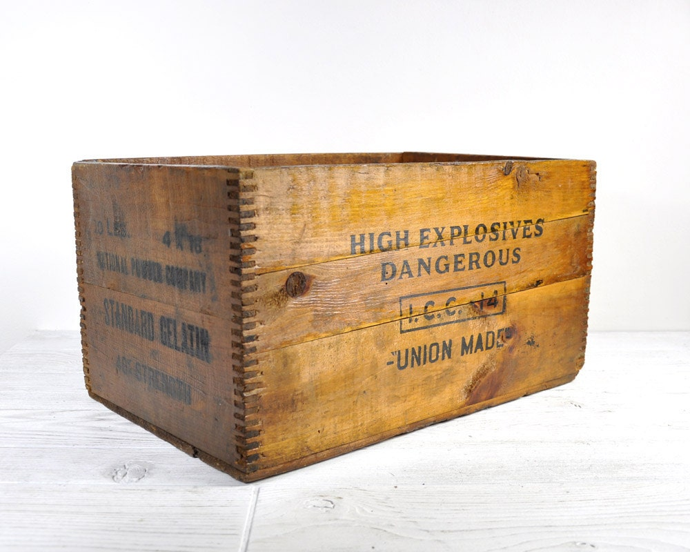 Antique wood crate wooden box wooden crate by havenvintage for Old wooden crates