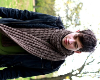 Men's Scarf, Chunky Scarf for Men, Chunky Knit Scarf, Brown