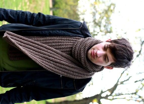 Knitting Pattern Mens Chunky Scarf : Mens Scarf Chunky Scarf for Men Chunky Knit Scarf